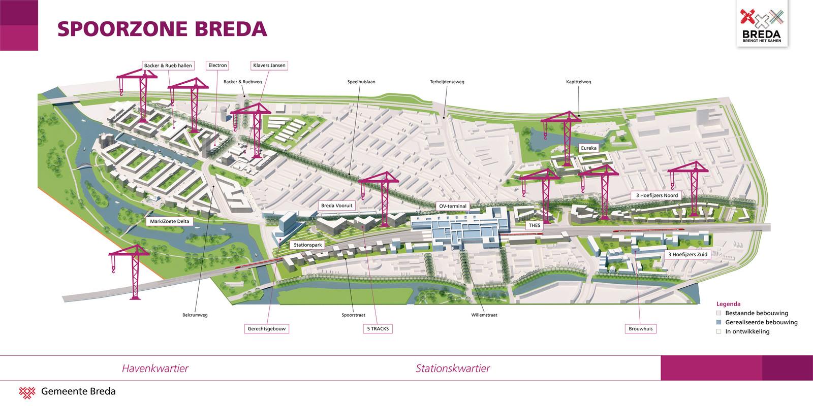 Spoorzone Breda- 'Nieuwe Europese stadswijk aan het water' - Overzichtskaart - Nieuws - 5Tracks Breda